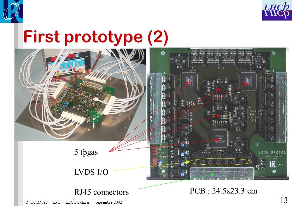 R. CORNAT - LPC - LECC Colmar - septembre 2002 13 First prototype (2) 5 fpgas LVDS I/O RJ45 connectors PCB : 24.5x23.3 cm