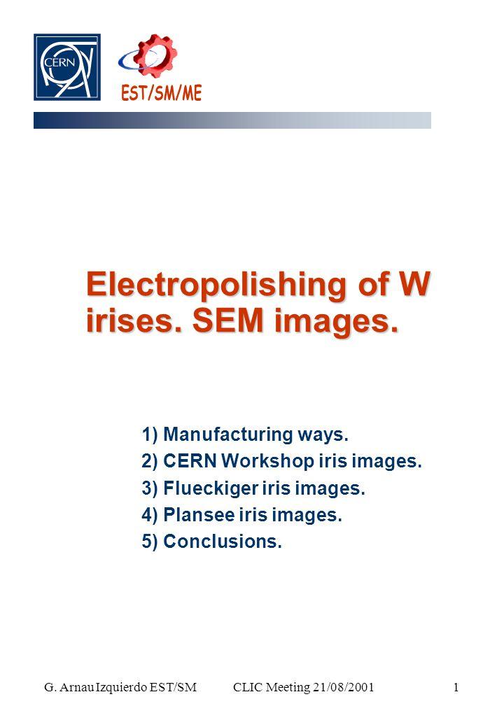 CLIC Meeting 21/08/2001 G. Arnau Izquierdo EST/SM 1 Electropolishing of W irises.