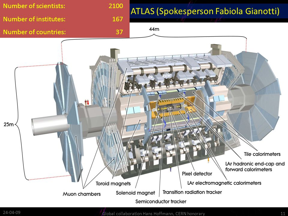 ATLAS (Spokesperson Fabiola Gianotti) Number of scientists:2100 Number of institutes:167 Number of countries:37 24-04-09 11Global collaboration Hans Hoffmann, CERN honorary