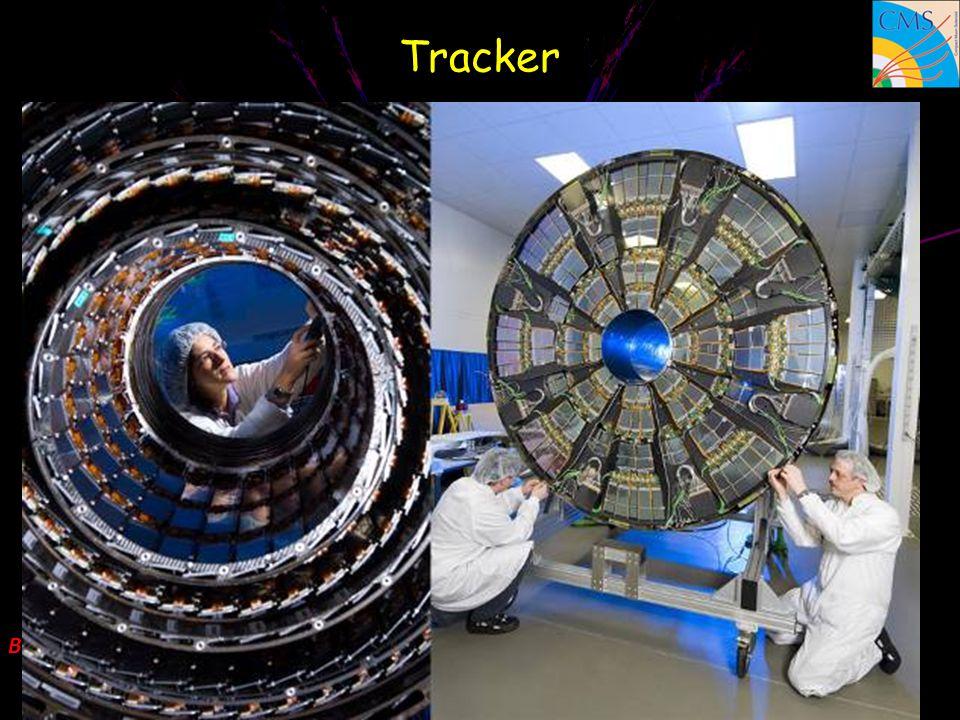 Trajectographe à silicium Des capteurs en silicium très finement segmentés (rubans et pixels) permettent de suivre la trajectoire des particules et de mesurer leur impulsion Comparable à un appareil photo à 70 millions de pixels prenant 40 millions de clichés par seconde.