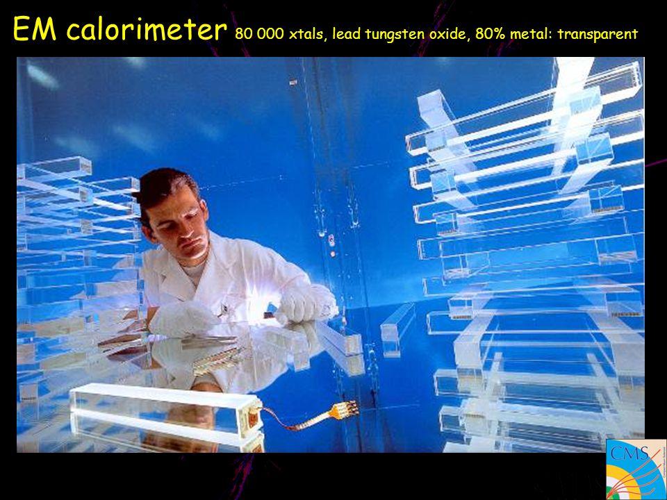 EM calorimeter 80 000 xtals, lead tungsten oxide, 80% metal: transparent