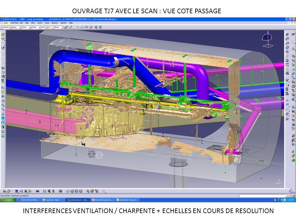 OUVRAGE TJ7 AVEC LE SCAN : VUE COTE PASSAGE INTERFERENCES VENTILATION / CHARPENTE + ECHELLES EN COURS DE RESOLUTION