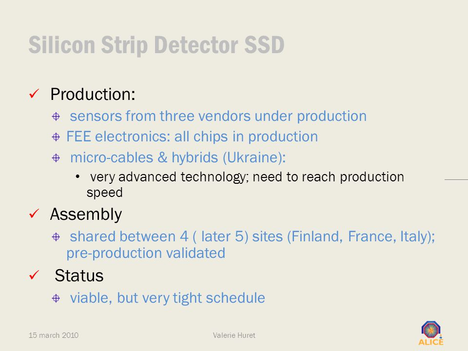 Silicon Strip Detector SSD Production: sensors from three vendors under production FEE electronics: all chips in production micro-cables & hybrids (Uk
