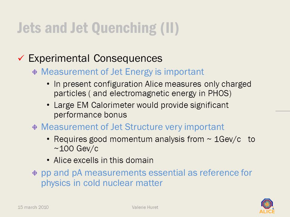 Jets and Jet Quenching (II) Experimental Consequences Measurement of Jet Energy is important In present configuration Alice measures only charged part