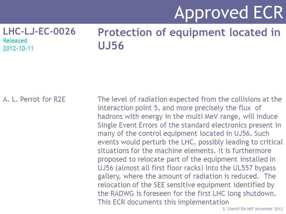 S. Chemli EN-MEF November 2012 Approved ECR LHC-LJ-EC-0026 Released 2012-10-11 Protection of equipment located in UJ56 A. L. Perrot for R2EThe level o