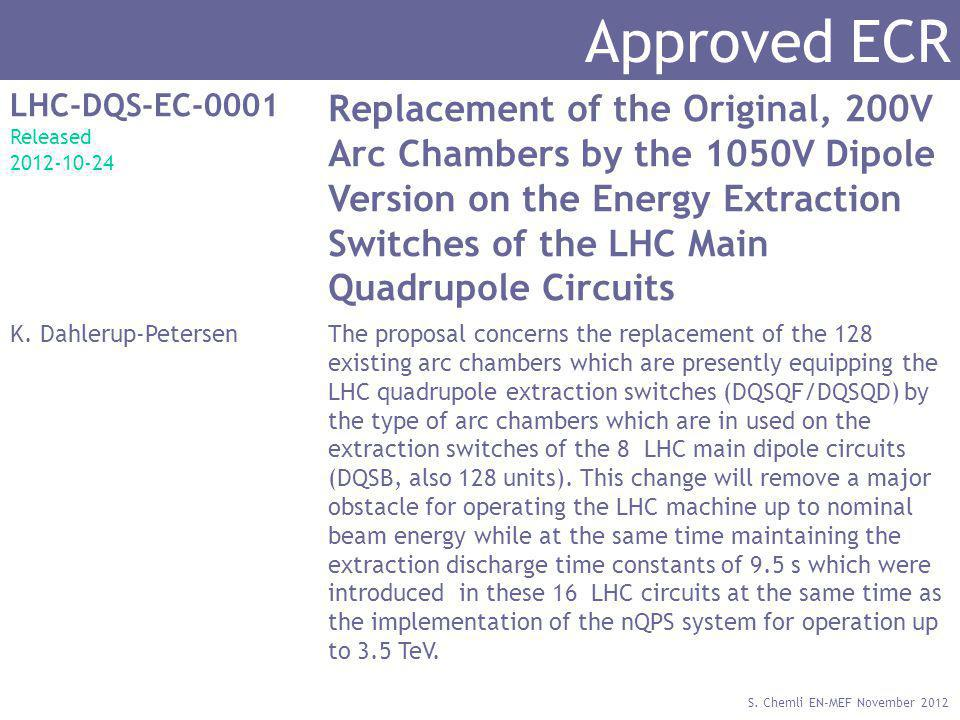 S. Chemli EN-MEF November 2012 Approved ECR LHC-DQS-EC-0001 Released 2012-10-24 Replacement of the Original, 200V Arc Chambers by the 1050V Dipole Ver