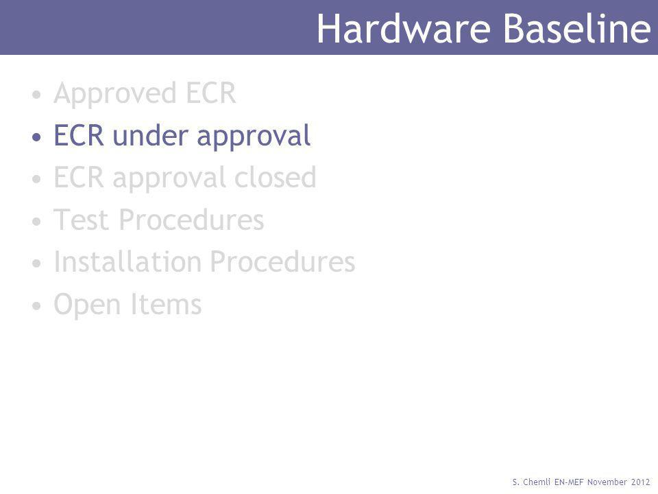 S. Chemli EN-MEF November 2012 Hardware Baseline Approved ECR ECR under approval ECR approval closed Test Procedures Installation Procedures Open Item
