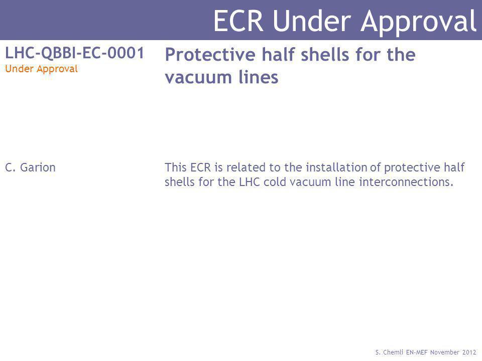 S. Chemli EN-MEF November 2012 ECR Under Approval LHC-QBBI-EC-0001 Under Approval Protective half shells for the vacuum lines C. GarionThis ECR is rel