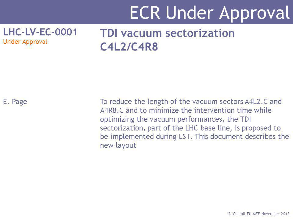 S. Chemli EN-MEF November 2012 ECR Under Approval LHC-LV-EC-0001 Under Approval TDI vacuum sectorization C4L2/C4R8 E. PageTo reduce the length of the