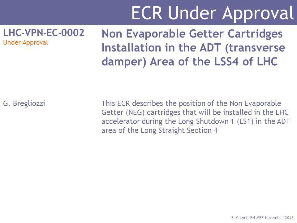 S. Chemli EN-MEF November 2012 ECR Under Approval LHC - VPN - EC - 0002 Under Approval Non Evaporable Getter Cartridges Installation in the ADT (trans