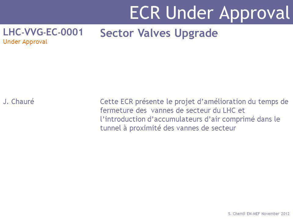 S. Chemli EN-MEF November 2012 ECR Under Approval LHC - VVG - EC - 0001 Under Approval Sector Valves Upgrade J. ChauréCette ECR présente le projet dam