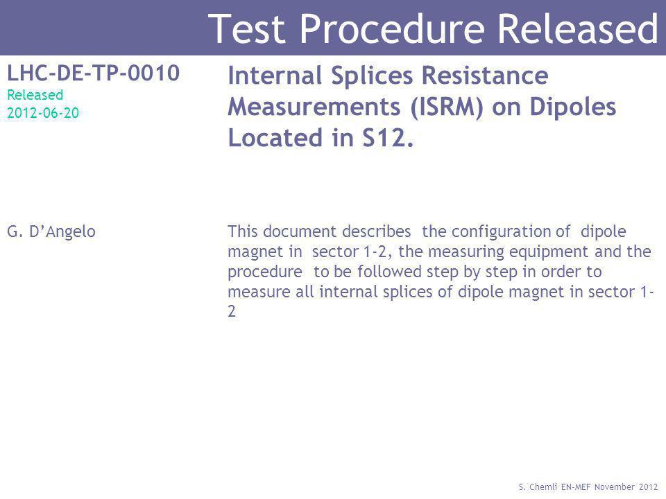 S. Chemli EN-MEF November 2012 Test Procedure Released LHC-DE-TP-0010 Released 2012-06-20 Internal Splices Resistance Measurements (ISRM) on Dipoles L