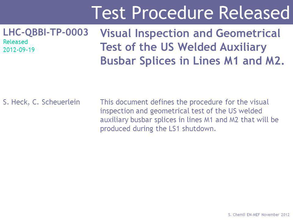 S. Chemli EN-MEF November 2012 Test Procedure Released LHC-QBBI-TP-0003 Released 2012-09-19 Visual Inspection and Geometrical Test of the US Welded Au