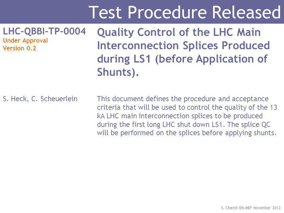 S. Chemli EN-MEF November 2012 Test Procedure Released LHC-QBBI-TP-0004 Under Approval Version 0.2 Quality Control of the LHC Main Interconnection Spl