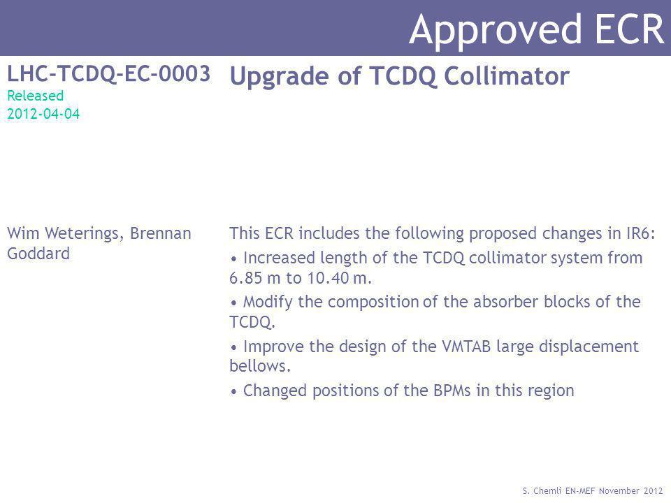 S. Chemli EN-MEF November 2012 Approved ECR LHC-TCDQ-EC-0003 Released 2012-04-04 Upgrade of TCDQ Collimator Wim Weterings, Brennan Goddard This ECR in
