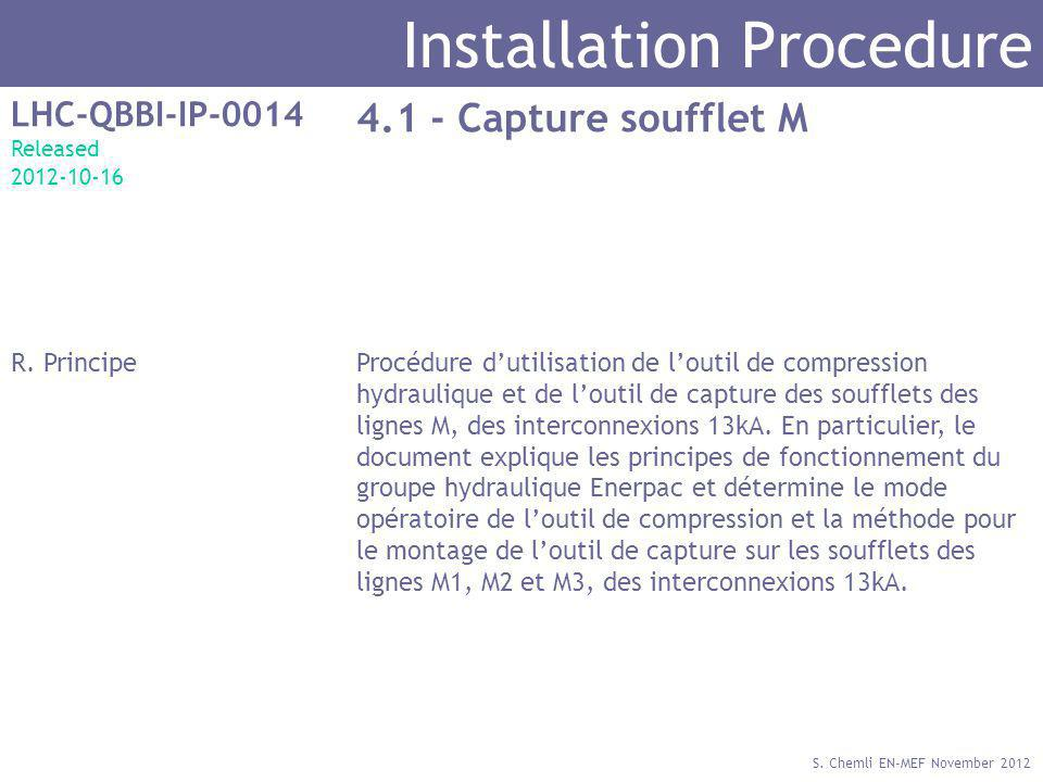 S. Chemli EN-MEF November 2012 Installation Procedure LHC-QBBI-IP-0014 Released 2012-10-16 4.1 - Capture soufflet M R. PrincipeProcédure dutilisation
