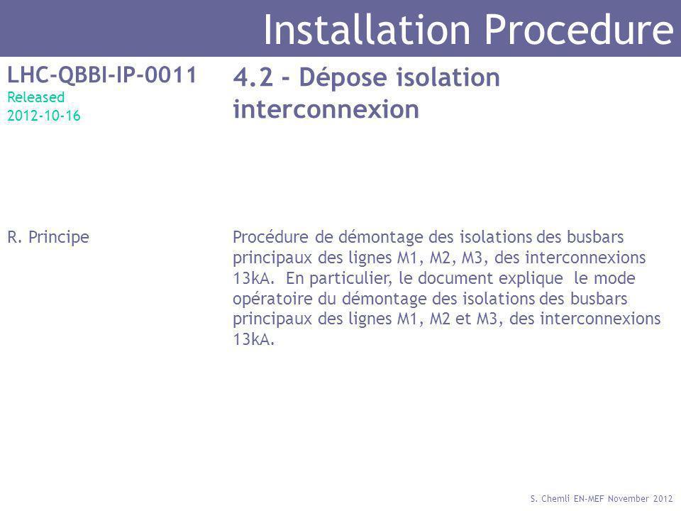 S. Chemli EN-MEF November 2012 Installation Procedure LHC-QBBI-IP-0011 Released 2012-10-16 4.2 - Dépose isolation interconnexion R. PrincipeProcédure