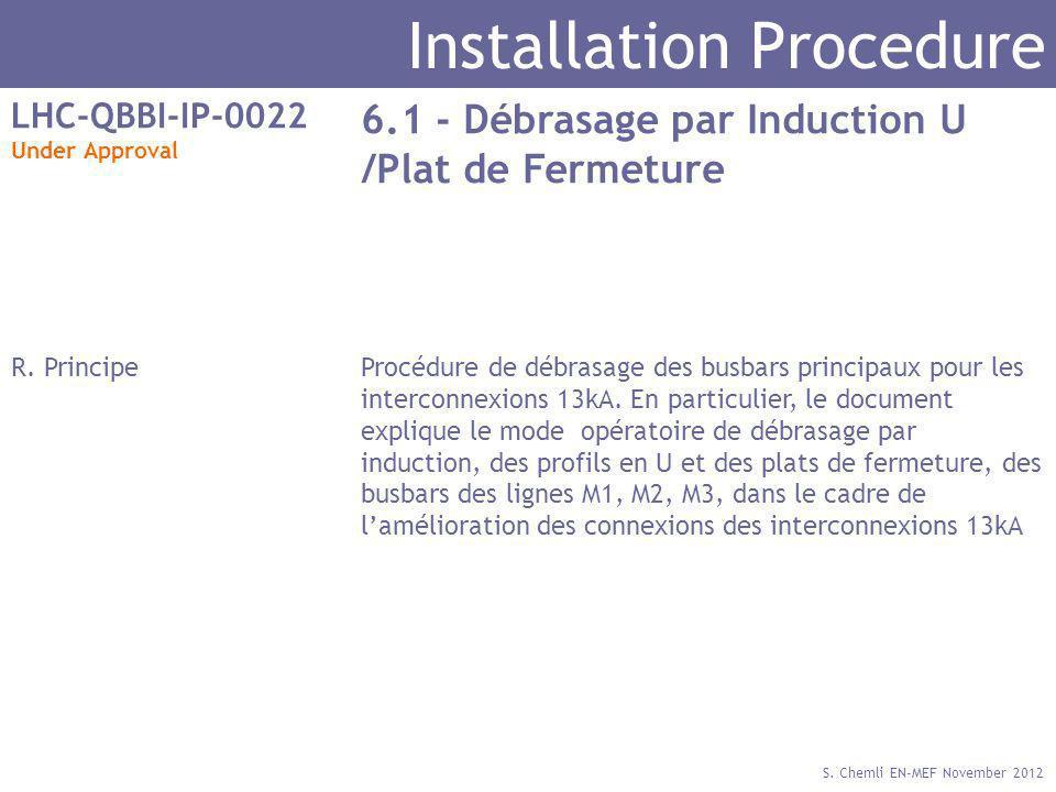 S. Chemli EN-MEF November 2012 Installation Procedure LHC-QBBI-IP-0022 Under Approval 6.1 - Débrasage par Induction U /Plat de Fermeture R. PrincipePr