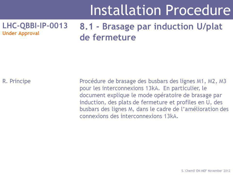 S. Chemli EN-MEF November 2012 Installation Procedure LHC-QBBI-IP-0013 Under Approval 8.1 - Brasage par induction U/plat de fermeture R. PrincipeProcé
