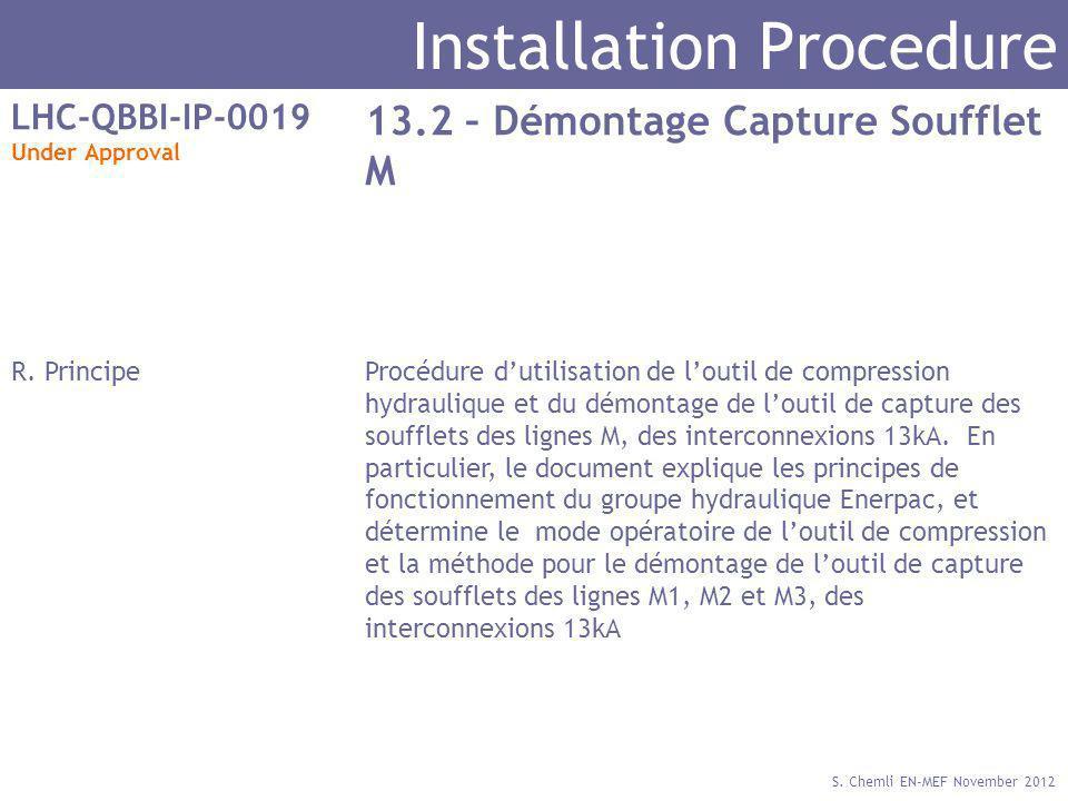 S. Chemli EN-MEF November 2012 Installation Procedure LHC-QBBI-IP-0019 Under Approval 13.2 – Démontage Capture Soufflet M R. PrincipeProcédure dutilis