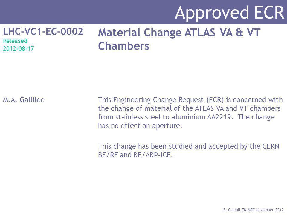 S. Chemli EN-MEF November 2012 Approved ECR LHC-VC1-EC-0002 Released 2012-08-17 Material Change ATLAS VA & VT Chambers M.A. GallileeThis Engineering C