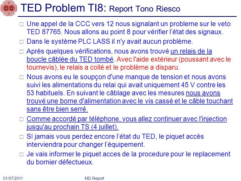TED Problem TI8: Report Tono Riesco Une appel de la CCC vers 12 nous signalant un probleme sur le veto TED 87765.