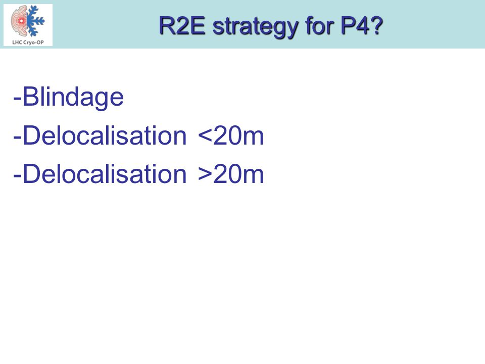R2E strategy for P4 -Blindage -Delocalisation <20m -Delocalisation >20m