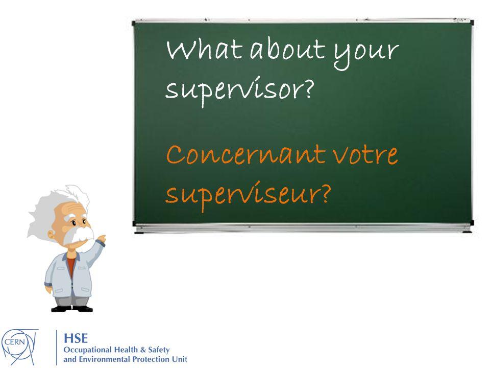 What about your supervisor? Concernant votre superviseur?