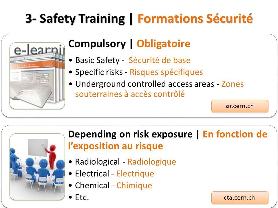 3- Safety Training | Formations Sécurité Compulsory | Obligatoire Basic Safety - Sécurité de base Specific risks - Risques spécifiques Underground con