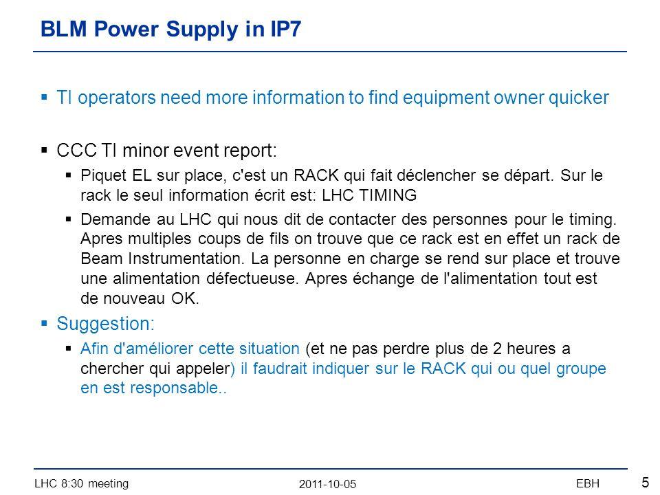 2011-10-05 LHC 8:30 meetingEBH 5 TI operators need more information to find equipment owner quicker CCC TI minor event report: Piquet EL sur place, c est un RACK qui fait déclencher se départ.