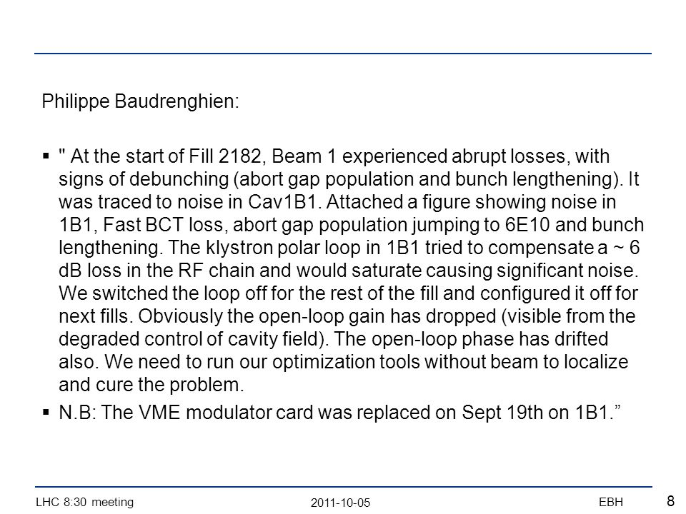 2011-10-05 LHC 8:30 meetingEBH 9 Losses on the batch of 12 bunches after Qh trim of +0.002 reducing by -0.001