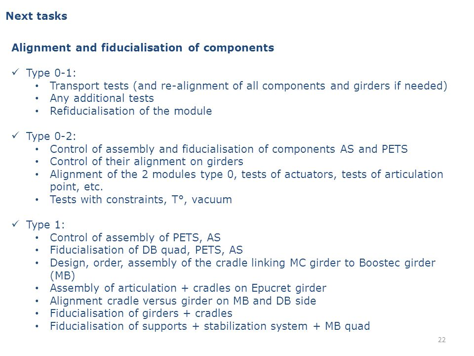 Next tasks Alignment and fiducialisation of components Type 0-1: Transport tests (and re-alignment of all components and girders if needed) Any additional tests Refiducialisation of the module Type 0-2: Control of assembly and fiducialisation of components AS and PETS Control of their alignment on girders Alignment of the 2 modules type 0, tests of actuators, tests of articulation point, etc.