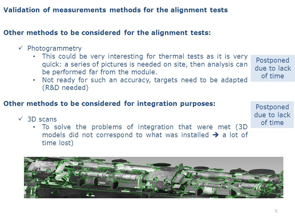 Summary of the situation Alignment tests on TBTM Development and qualification of sensors Development and qualification of actuators Integration of alignment systems Fiducialisation with the metrology lab Mechanical designs Design of articulation points & cradles Study of new methods of measurements Development of acquisition system, databases, analysis scripts Implementation of a measurement lab Alignment tests on CLEX 26