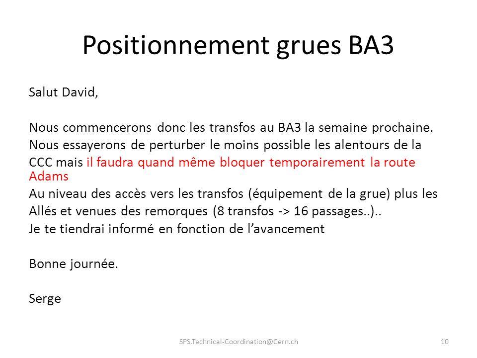 Positionnement grues BA3 Salut David, Nous commencerons donc les transfos au BA3 la semaine prochaine.