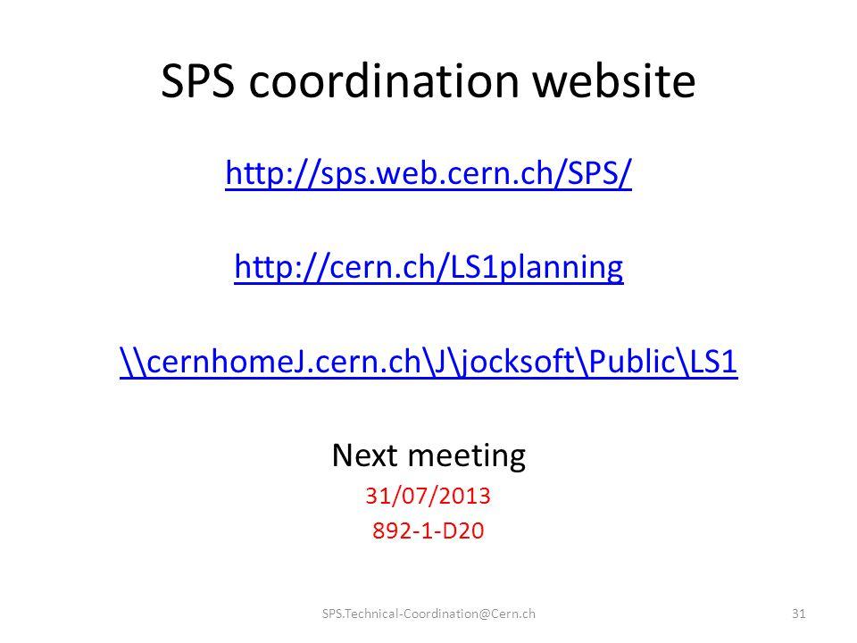 SPS coordination website http://sps.web.cern.ch/SPS/ http://cern.ch/LS1planning \\cernhomeJ.cern.ch\J\jocksoft\Public\LS1 Next meeting 31/07/2013 892-1-D20 SPS.Technical-Coordination@Cern.ch31