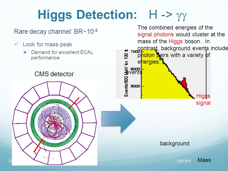 Higgs Detection: H -> Rare decay channel: BR~10 -3 Look for mass peak Demand for excellent ECAL performance 12/13/11DT-EM2 events Mass background Higgs signal The combined energies of the signal photons would cluster at the mass of the Higgs boson.