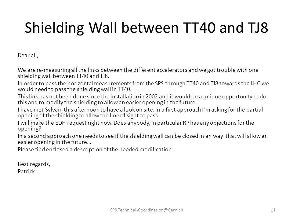Shielding Wall between TT40 and TJ8 Dear all, We are re-measuring all the links between the different accelerators and we got trouble with one shieldi