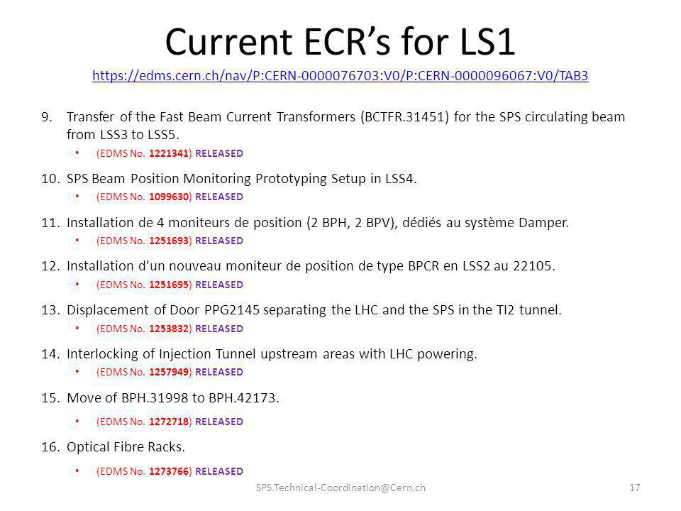 Current ECRs for LS1 https://edms.cern.ch/nav/P:CERN-0000076703:V0/P:CERN-0000096067:V0/TAB3 9.Transfer of the Fast Beam Current Transformers (BCTFR.3