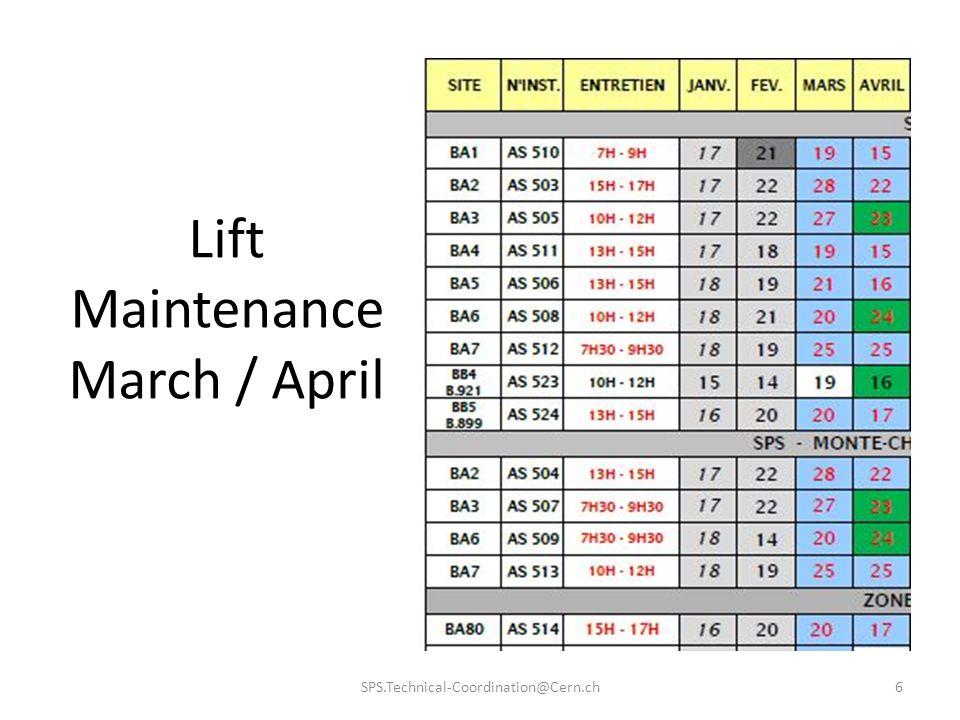 Lift Maintenance March / April SPS.Technical-Coordination@Cern.ch6