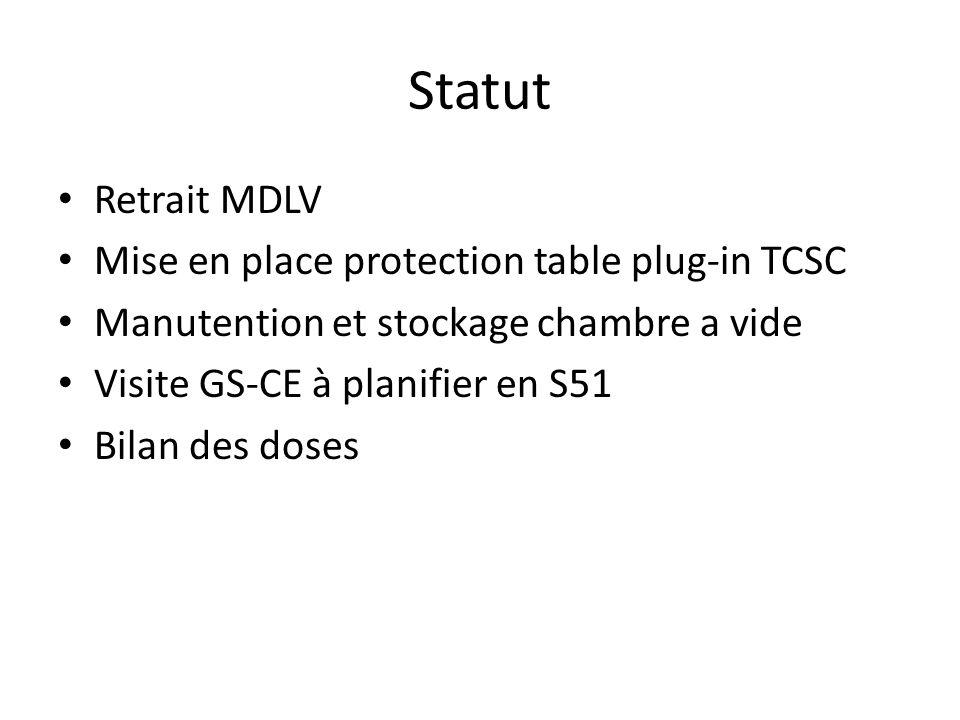 Statut Retrait MDLV Mise en place protection table plug-in TCSC Manutention et stockage chambre a vide Visite GS-CE à planifier en S51 Bilan des doses