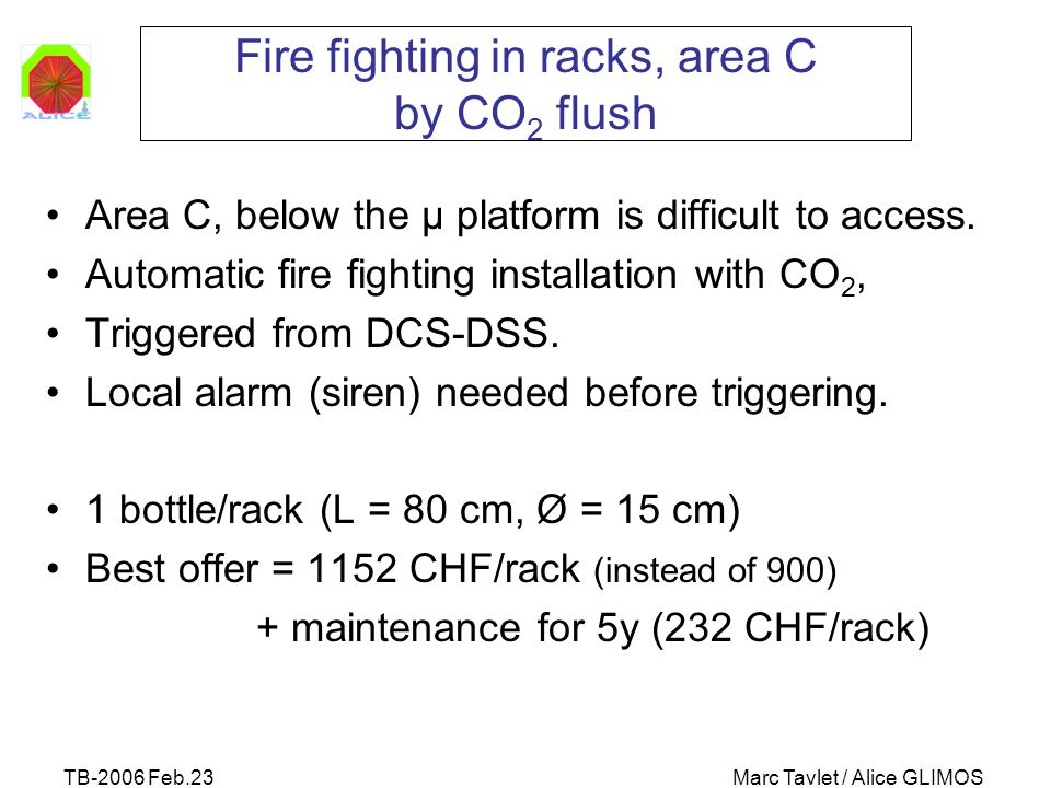 TB-2006 Feb.23Marc Tavlet / Alice GLIMOS Fire fighting in racks, area C by CO 2 flush Area C, below the μ platform is difficult to access. Automatic f