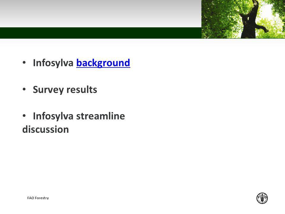 z FAO Forestry Infosylva backgroundbackground Survey results Infosylva streamline discussion