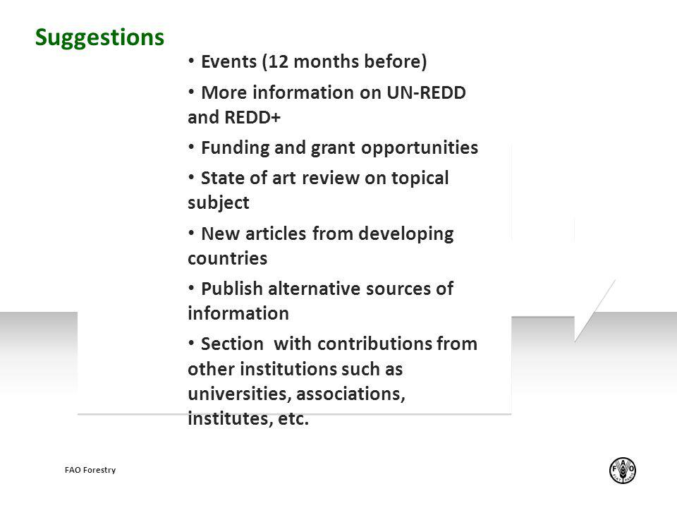 Example text Events (12 months before) More information on UN-REDD and REDD+ Funding and grant opportunities State of art review on topical subject Ne