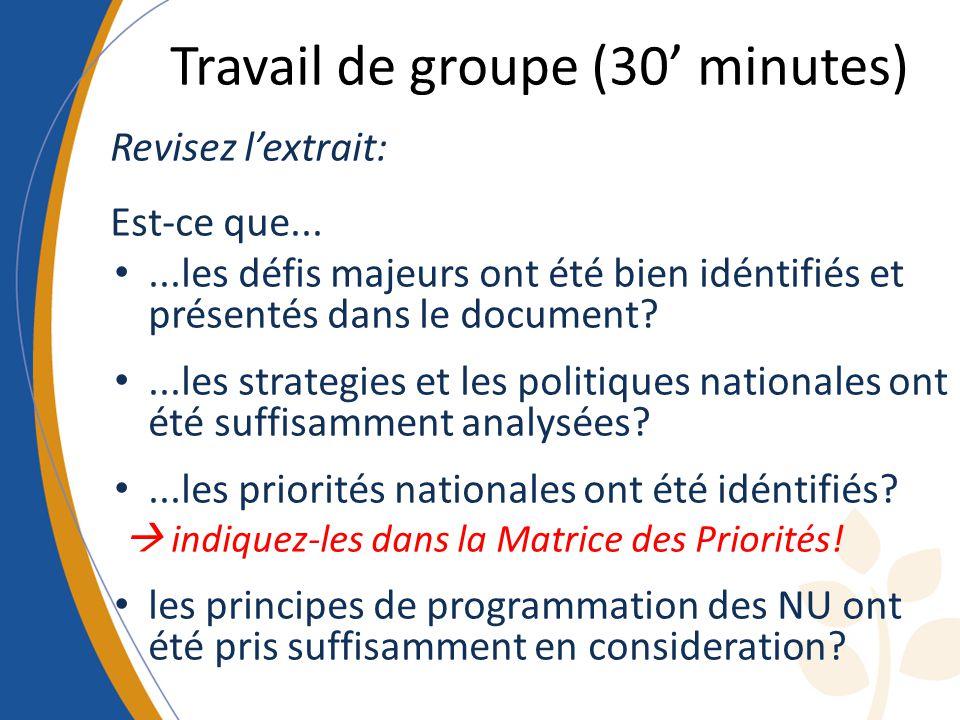 Travail de groupe (30 minutes) Revisez lextrait: Est-ce que......les défis majeurs ont été bien idéntifiés et présentés dans le document ...les strategies et les politiques nationales ont été suffisamment analysées ...les priorités nationales ont été idéntifiés.