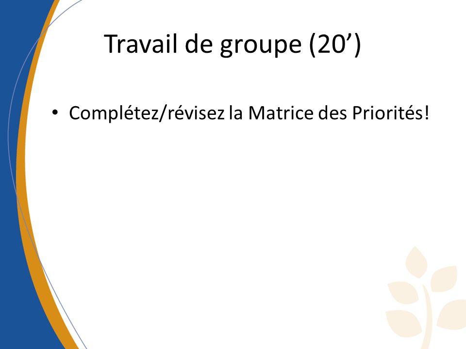 Travail de groupe (20) Complétez/révisez la Matrice des Priorités!