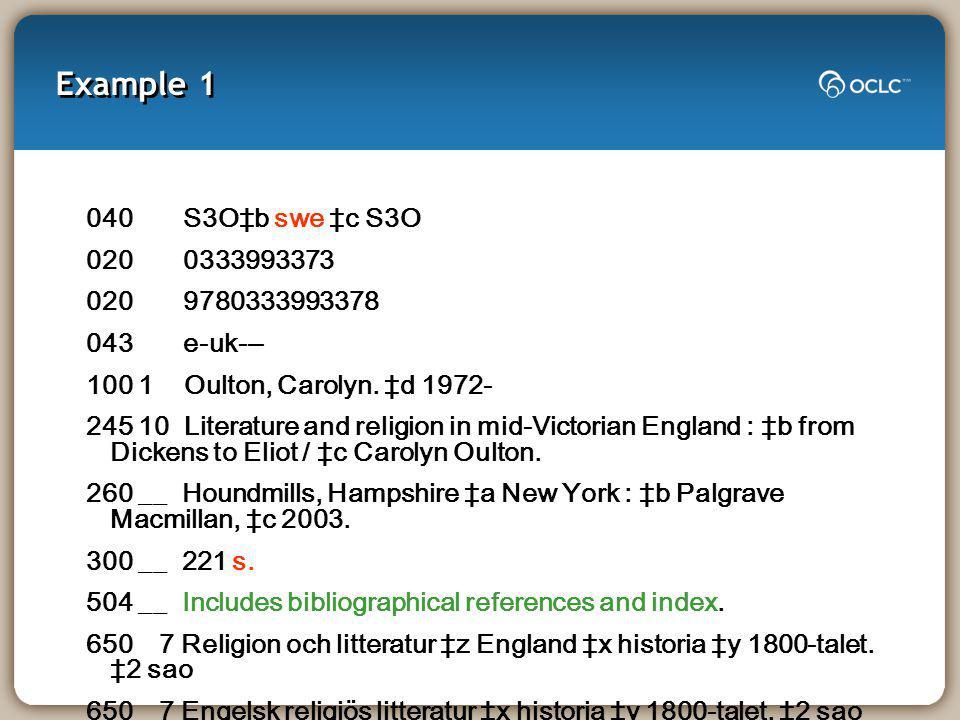 Example 1 040 S3Ob swe c S3O 020 0333993373 020 9780333993378 043 e-uk--- 100 1 Oulton, Carolyn.