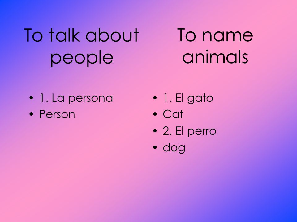 To talk about people 1. La persona Person 1. El gato Cat 2. El perro dog To name animals