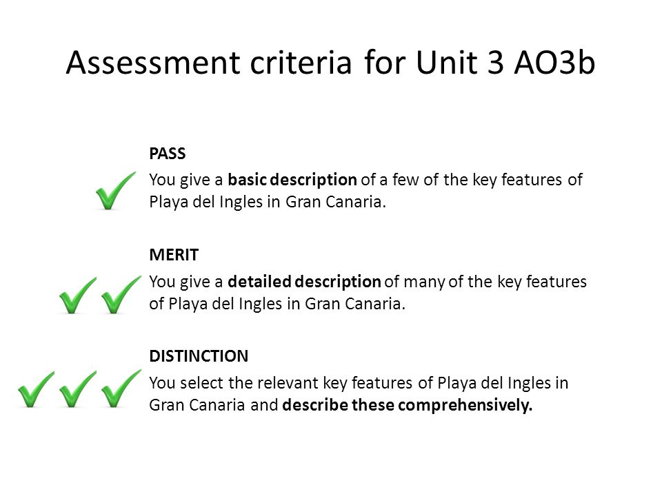 Assessment criteria for Unit 3 AO3b PASS You give a basic description of a few of the key features of Playa del Ingles in Gran Canaria.