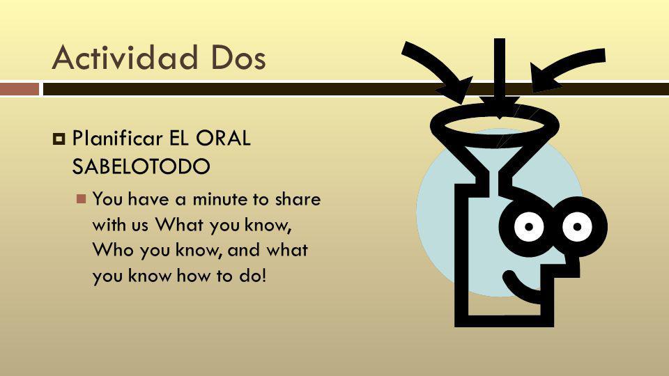 Actividad Dos Planificar EL ORAL SABELOTODO You have a minute to share with us What you know, Who you know, and what you know how to do!