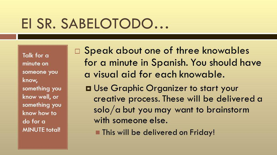El SR. SABELOTODO… Talk for a minute on someone you know, something you know well, or something you know how to do for a MINUTE total! Speak about one